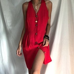 Vintage red midi dress gold buttons